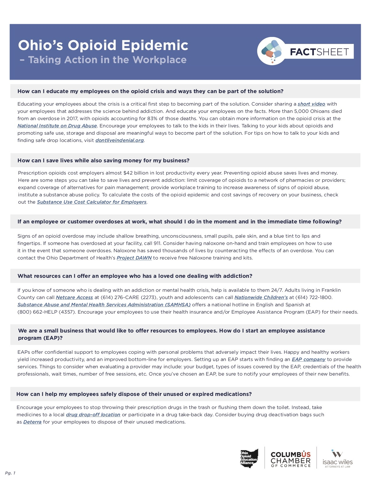 Workplace Opioid Use Fact Sheet